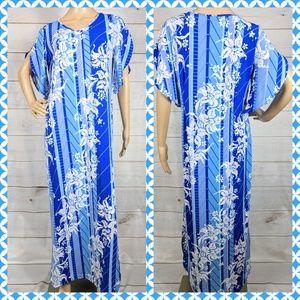 Bob Mackie Blue Hawaiian Floral Maxi Knit Dress